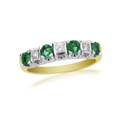 Emerald And Diamond 9 Carat Yellow Gold eternity Ring DER134